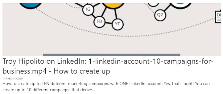 Troy Hipolito LinkedIn 10 Marketing Campaigns, One LinkedIn Account