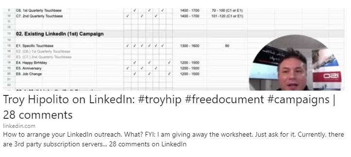Troy Hipolito LinkedIn How to Arrange Your LInkedIn Outreach