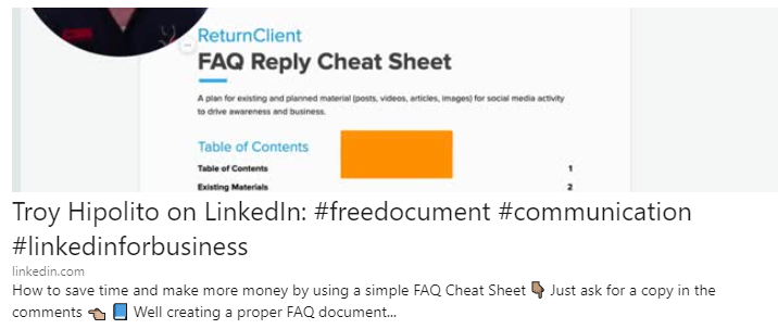 Troy Hipolito LinkedIn How to Save Time and Make More Money FAQ Cheat Sheet