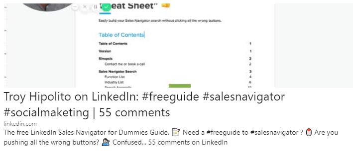 Troy Hipolito LinkedIn Sales Navigator Free Guide